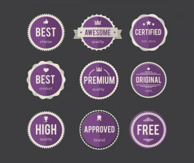 Purple round badge vectors