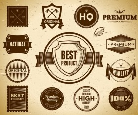 Quality labels retro styles vector 01