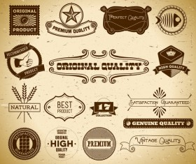 Quality labels retro styles vector 03