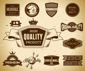 Quality labels retro styles vector 04