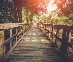 Quiet wooden bridge Stock Photo
