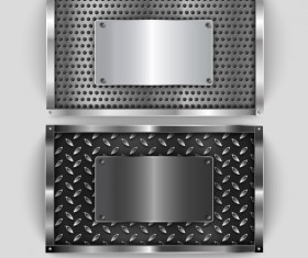 Realistic silver metal banners vector