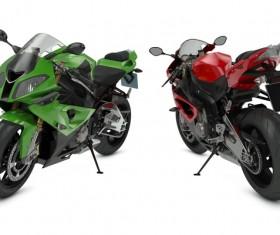 Dark green motorcycle Stock Photo