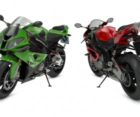 Red and black and dark green motorcycle Stock Photo