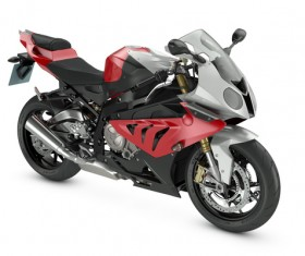 Red and black motorcycle Stock Photo