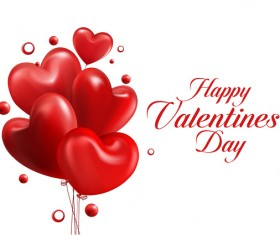 Red heart balloons with happy valentine day card vector 01