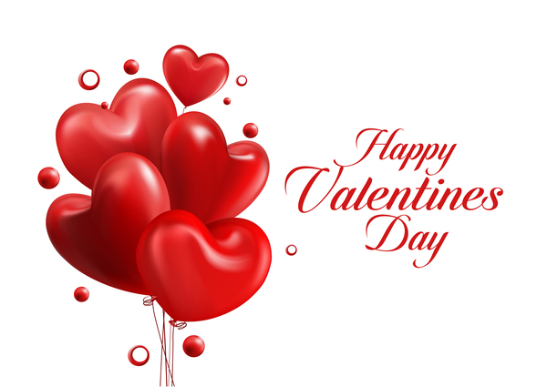 red heart balloons with happy valentine day card vector 01, Ideas