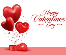Red heart balloons with happy valentine day card vector 02