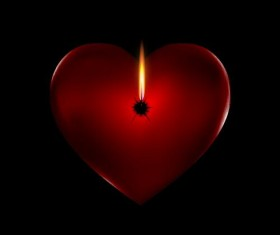 Red heart shape candles vecor