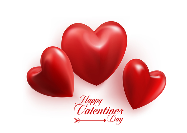 Red heart valentine cards with white background vector 03 Vector – Valentine Card Background