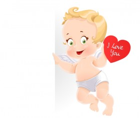 Red heart with cute cupid and white background vector