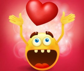 Red heart with smiley emoticon yellow face vector