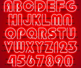 Red neon alphabet with numbers vector 01