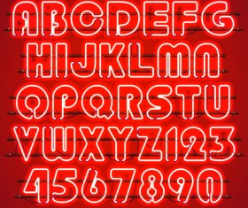 Red neon alphabet with numbers vector 02