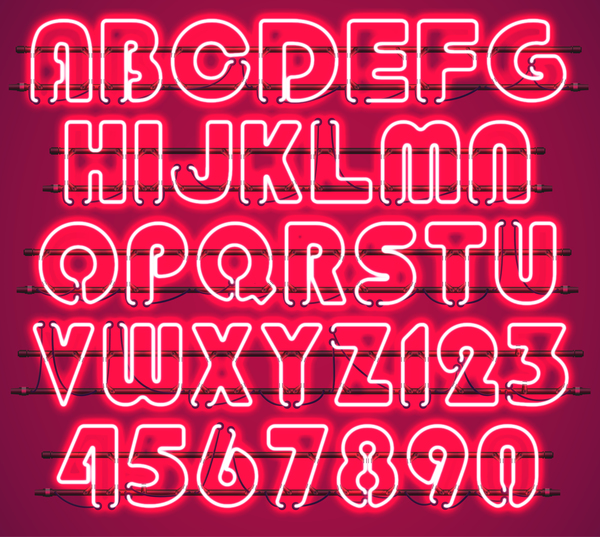Red neon alphabet with numbers vector 03