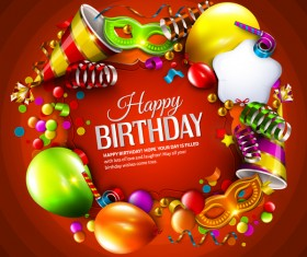 Red styles happy birthday background vector