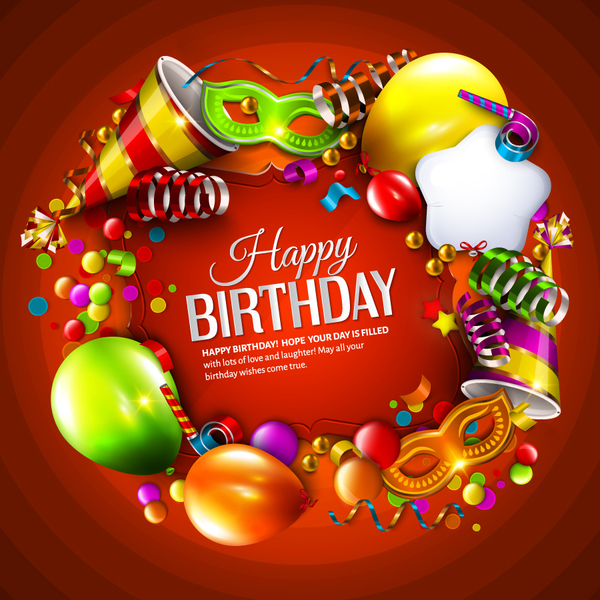 Red Styles Happy Birthday Background Vector Free Download