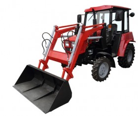 Red tractor forklift Stock Photo