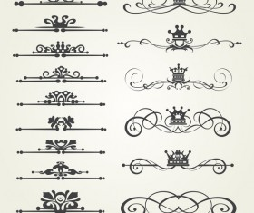 Retro border ornaments design set vector 02