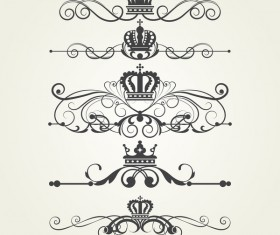 Retro border ornaments design set vector 03