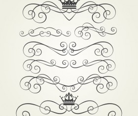 Retro border ornaments design set vector 04