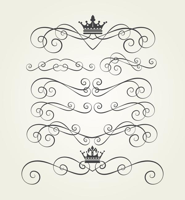 Retro border ornaments design set vector 04