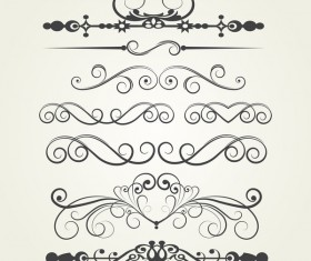 Retro border ornaments design set vector 05
