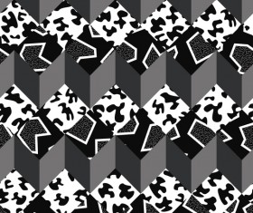 Retro seamless pattern white with black vector 05