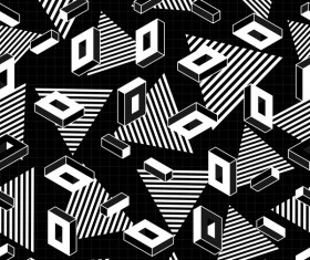 Retro seamless pattern white with black vector 07