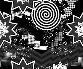 Retro seamless pattern white with black vector 08