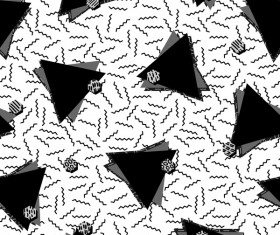 Retro seamless pattern white with black vector 09