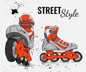 Roller skate with ink splashing background vectors 01