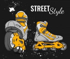 Roller skate with ink splashing background vectors 02