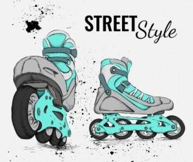 Roller skate with ink splashing background vectors 03