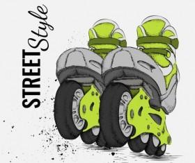 Roller skate with ink splashing background vectors 05