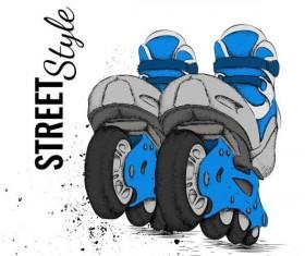 Roller skate with ink splashing background vectors 06