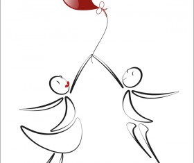 Romantic boy and girl with red heart baloon vector 05