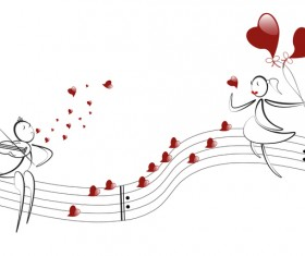 Romantic boy and girl with red heart baloon vector 06