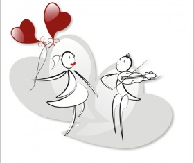 Romantic boy and girl with red heart baloon vector 07