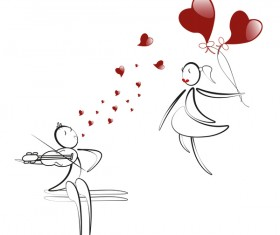 Romantic boy and girl with red heart baloon vector 08
