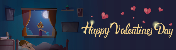 Romantic love with Valentine day card vector 01