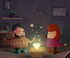 Romantic love with Valentine day card vector 03