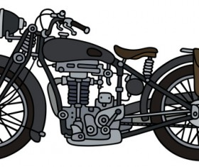 Rtero motorcycle drawing vectors material 08