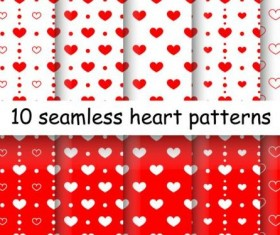 Seamless heart patterns vector material 01