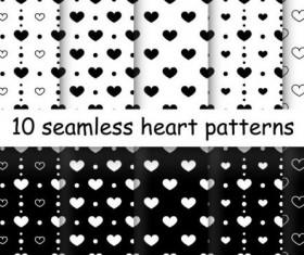 Seamless heart patterns vector material 03