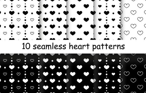 Seamless heart patterns vector material 03
