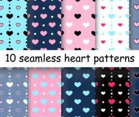 Seamless heart patterns vector material 05
