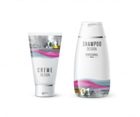 Shampoo and cosmetic brand design vector 03