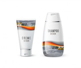 Shampoo and cosmetic brand design vector 04