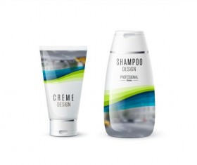 Shampoo and cosmetic brand design vector 05